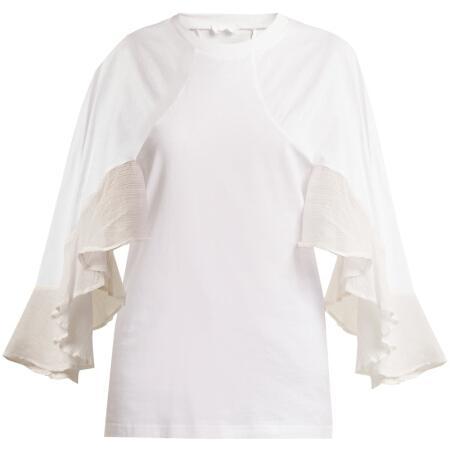 蔻依(Chloé)奢侈品女装 380656704 绉边领棉质上衣 图片色 中码(M)