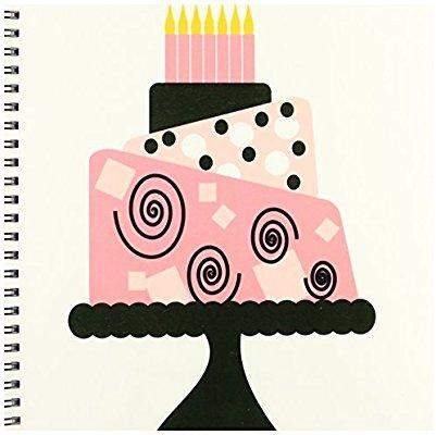 3dRose db_48530_1 Wierd Pink Tilted Birthday Cake Drawing Book, 8 by 8-Inch